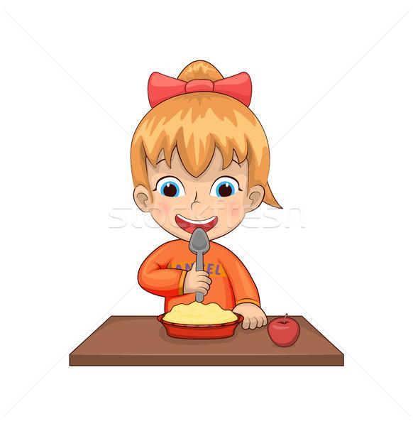 Menina alimentação café da manhã refeição prato cereal Foto stock © robuart