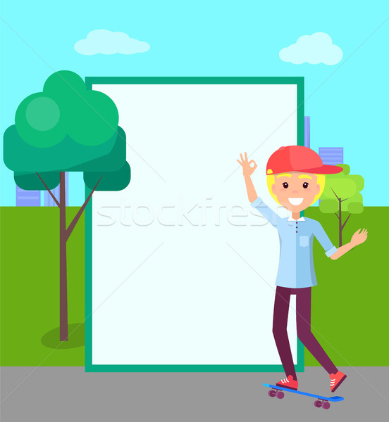 Skater and Filling Form, Trees Vector Illustration Stock photo © robuart