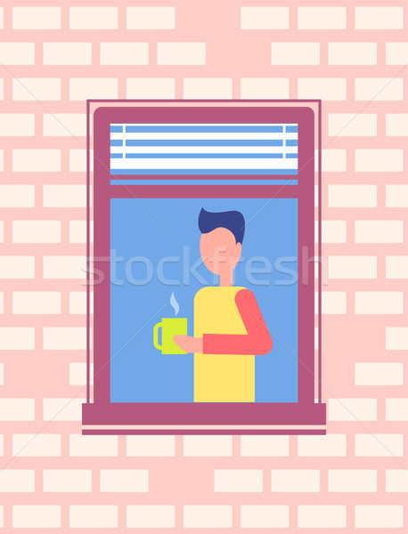 Man Drinking Coffee Stands Open Window, Brick Wall Stock photo © robuart