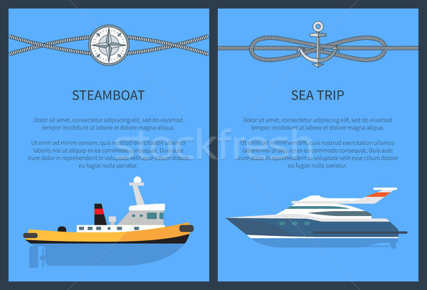 Steamboat and Sea Trip Set Vector Illustration Stock photo © robuart