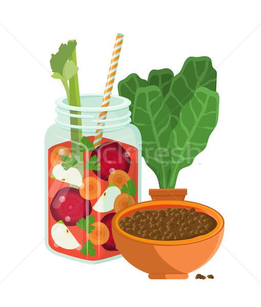 Vegetarisch eten kom cocktail gezonde Stockfoto © robuart