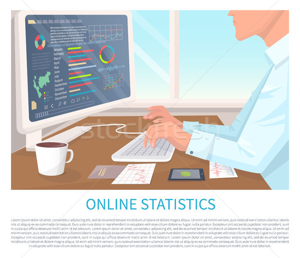 Ligne statistiques coloré modernes écran de l'ordinateur différent Photo stock © robuart