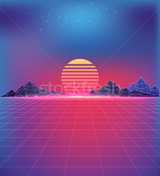 80s Style Backdrop with Futuristic Cosmic Motifs Stock photo © robuart