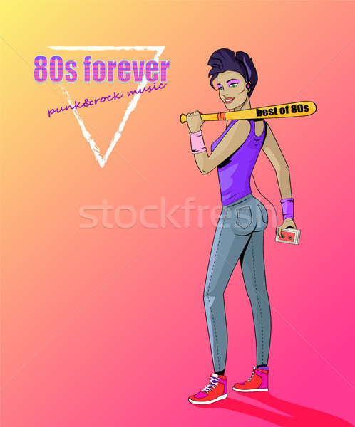 80s Forever Punk and Rock Music Banner with Girl Stock photo © robuart