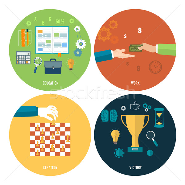 Icons for education, work, strategy, victory. Stock photo © robuart