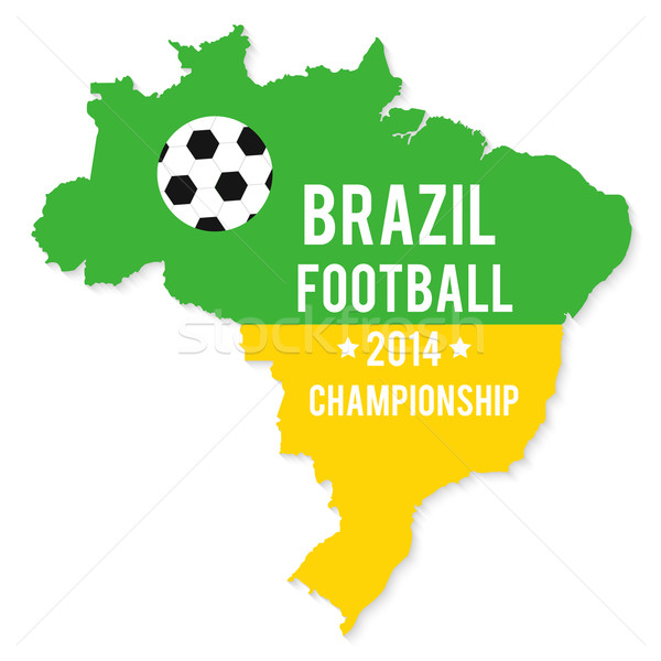Brazil map in the colors of the flag Stock photo © robuart