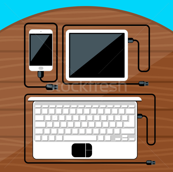 Laptop, digital tablet, smartphone with usb cable Stock photo © robuart