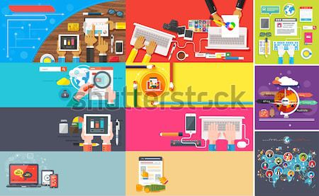 Stock photo: Delivery, money, bank and digital marketing