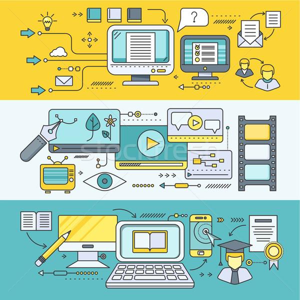 Dystans nauki edukacji online tutorial wideo Zdjęcia stock © robuart