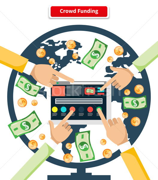 Concept Crowd Funding Banknotes and Coins Stock photo © robuart
