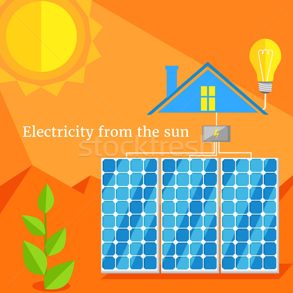 Electricity From Sun Design Flat Stock photo © robuart