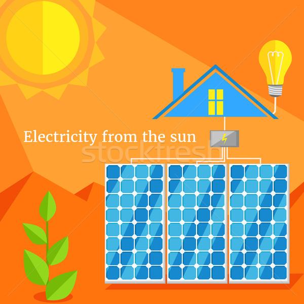 Elektromosság nap terv napenergia napelemek erő Stock fotó © robuart