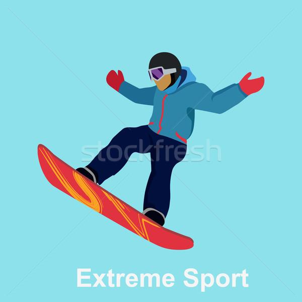 Extrém sport hódeszka terv hó ugrás izolált Stock fotó © robuart
