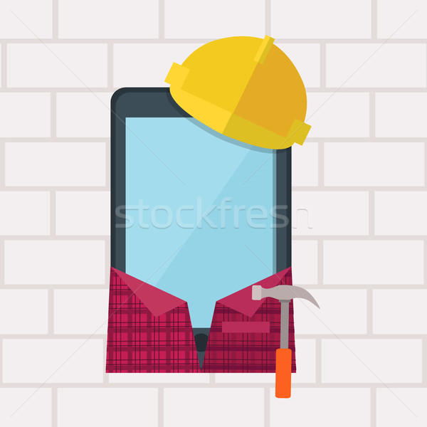 Phone in Working Clothes Design Flat Stock photo © robuart