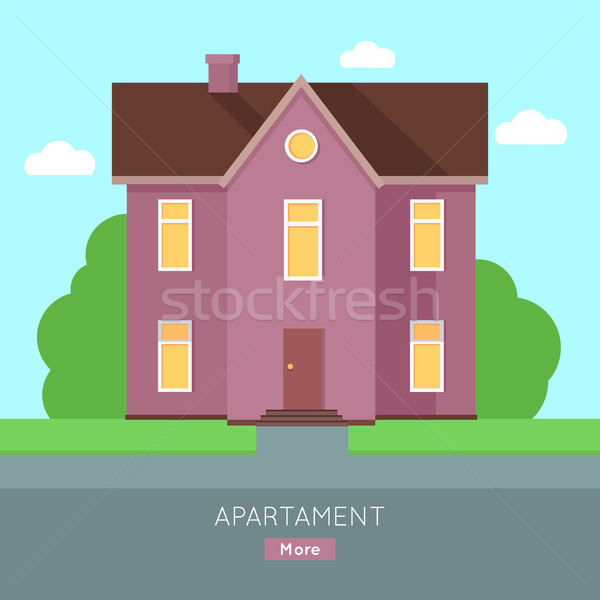 Happy House with Terrace Banner Poster Template. Stock photo © robuart