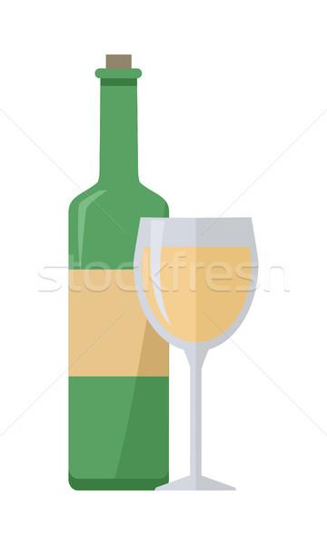 Botella vino blanco vidrio aislado blanco comprobar Foto stock © robuart