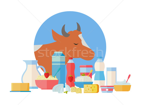 Melk productie banner traditioneel koe Stockfoto © robuart