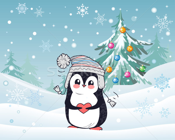 Penguin Animal in Hat and Heart. Winter Landscape Stock photo © robuart