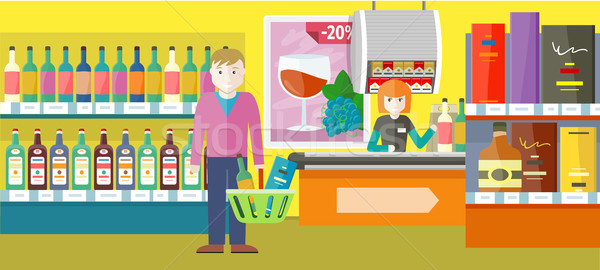 Person Buys Alcoholic Drinks in Elite Wine Shop. Stock photo © robuart