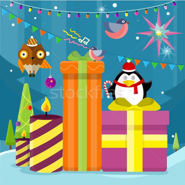 Сток-фото: зима · праздников · вектора · дизайна · рождественская · елка · игрушками