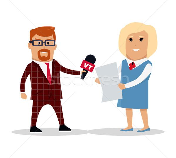 Mediów pracowników mężczyzna kobiet charakter Zdjęcia stock © robuart