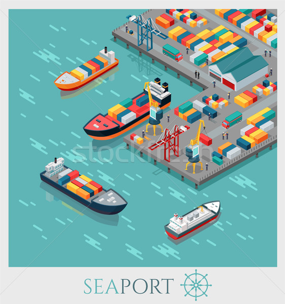Isometric Commercial Sea Port. Stock photo © robuart