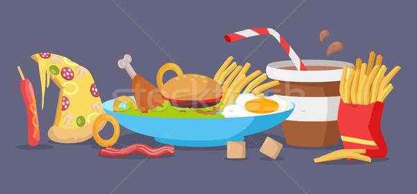 Set Fast-Food Produkte Vektor Design Restaurants Stock foto © robuart