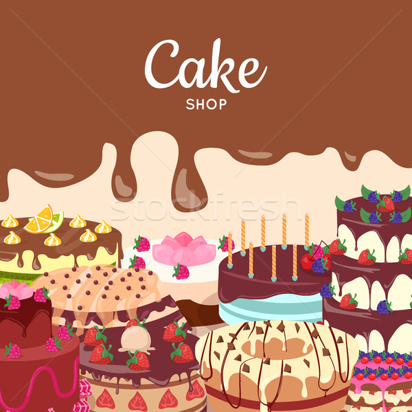 Cake Shop Flat Design Vector Concept Stock photo © robuart