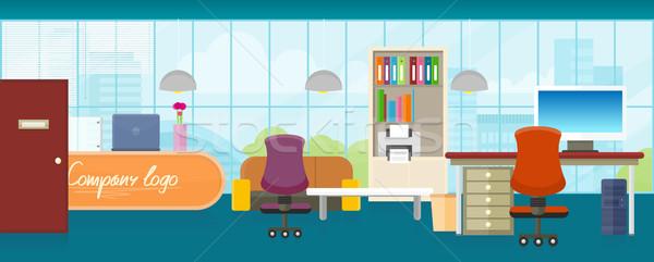 Oficina interior vector diseno estilo brillante Foto stock © robuart