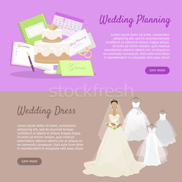 ślub planowania suknia ślubna internetowych banner przygotowanie Zdjęcia stock © robuart