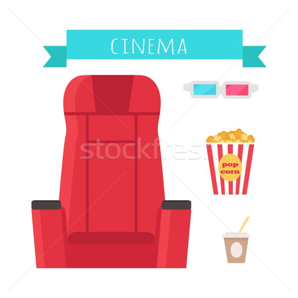 Mozi tárgyak szett izolált film szórakoztatás Stock fotó © robuart