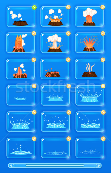 Natural Disaster Set with Volcano Erupting, Flood Stock photo © robuart