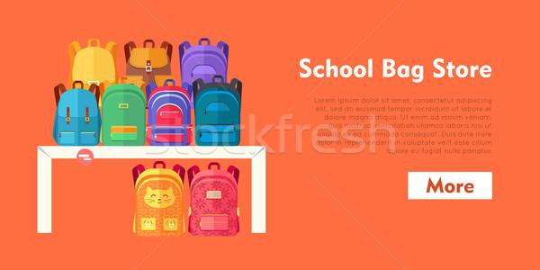 School Bag Store  Backpacks on Purple Background vector