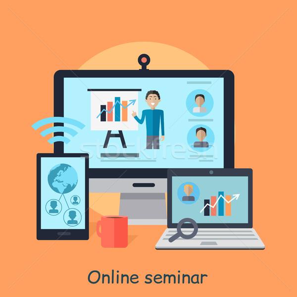 Online seminario distanza lavoro webinar vettore Foto d'archivio © robuart