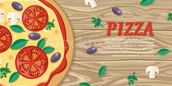 Pizza with Tomatoes, Olives, Mushrooms and Herbs Stock photo © robuart