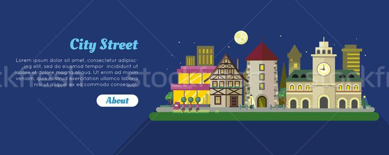 Nuit rue de la ville jour vecteur bannière médiévale Photo stock © robuart