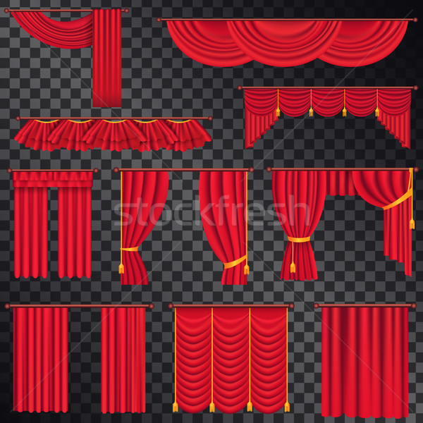 Red Curtains for Theatres Collection on Black Stock photo © robuart