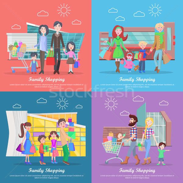 Stock photo: Family Shopping Web Banners Set in Flat Design