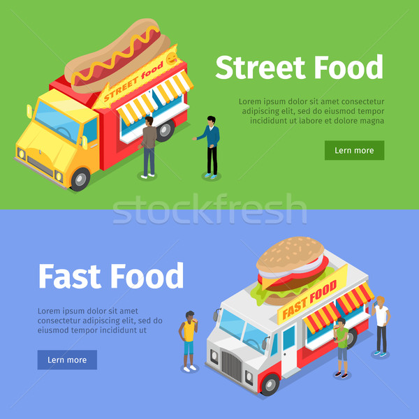 Fast and Street Food Minivans Selling Hotdogs Stock photo © robuart