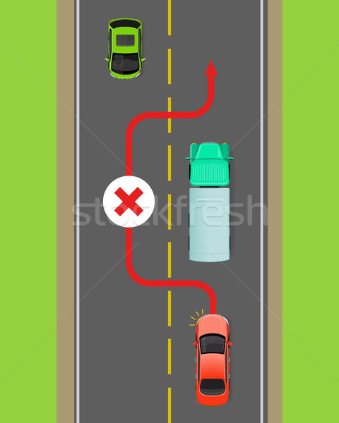 Lorry Overtaking Ban Flat Vector Diagram Stock photo © robuart