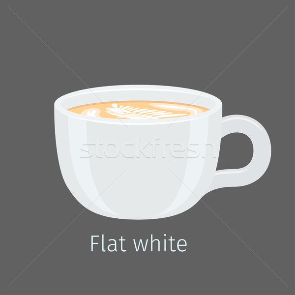 Flat White Coffee with Latte Art on Foam Vector Stock photo © robuart