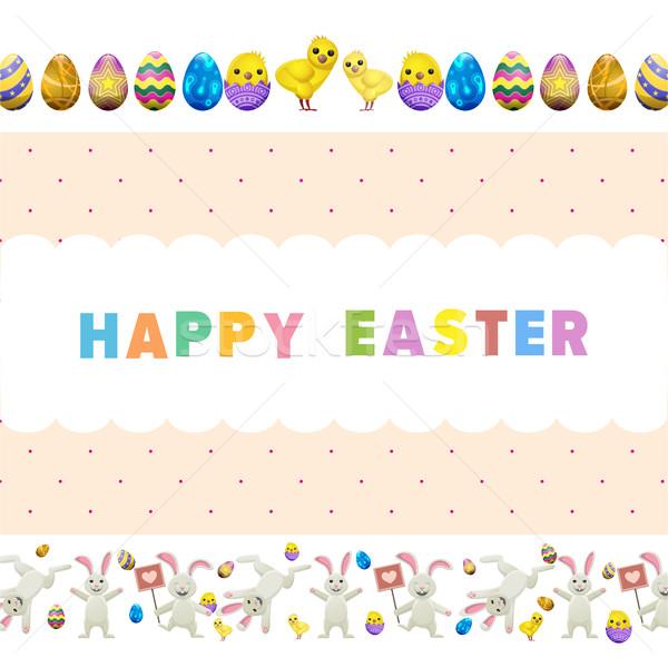 Kellemes húsvétot vektor szórólap vicces aranyos ugrik Stock fotó © robuart