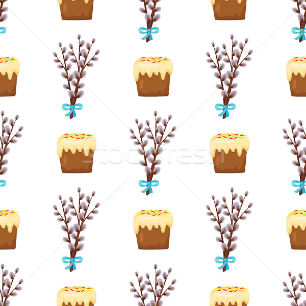 Seamless Pattern in Easter Concept Willow and Cake Stock photo © robuart