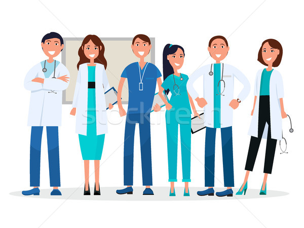 Group of Physicians in Uniform Standing and Smiling Stock photo © robuart