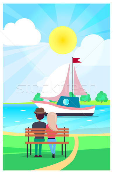 Couple Relaxing on Wooden Bench and Watching Yacht Stock photo © robuart