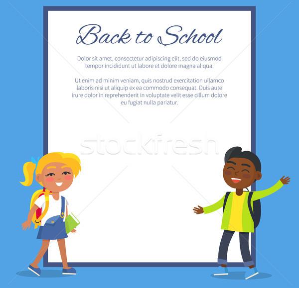 Stockfoto: Terug · naar · school · poster · blond · meisje · indian · jongen