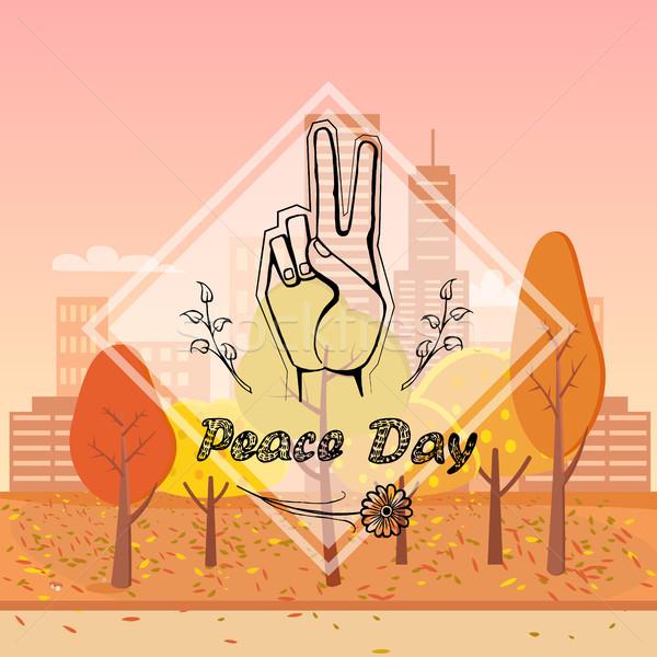 Pace giorno urbana immagine simbolico gesto Foto d'archivio © robuart