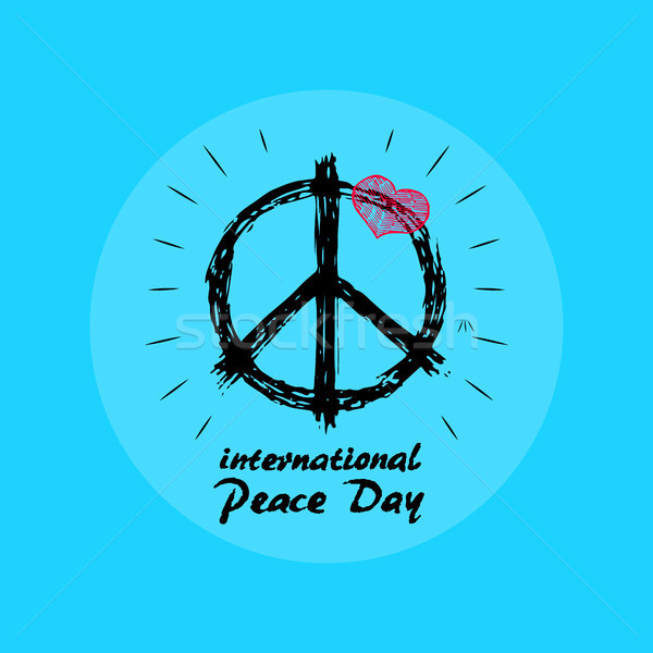 International Peace Day Emblem with Hippie Symbol Stock photo © robuart