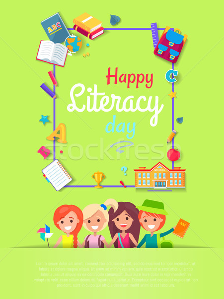 Happy Literacy Day Postcard Vector Illustration Stock photo © robuart