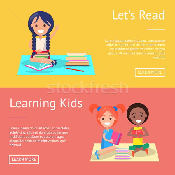 Let Read Learning Kids Banners with Schoolchildren Stock photo © robuart
